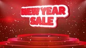 evenementen : New Year Sale Text Animation on 3d Stage Podium Carpet. Reval Red Curtain With Abstract Foil Confetti Blast, Spotlight, Glitter Sparkles, Loop 4k Animation.