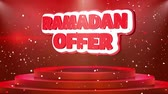 grote maan : Ramadan Offer Text Animation on 3d Stage Podium Carpet. Reval Red Curtain With Abstract Foil Confetti Blast, Spotlight, Glitter Sparkles, Loop 4k Animation.