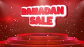 grote maan : Ramadan Sale Text Animation on 3d Stage Podium Carpet. Reval Red Curtain With Abstract Foil Confetti Blast, Spotlight, Glitter Sparkles, Loop 4k Animation.