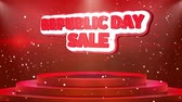 szafran : Republic Day Sale Text Animation on 3d Stage Podium Carpet. Reval Red Curtain With Abstract Foil Confetti Blast, Spotlight, Glitter Sparkles, Loop 4k Animation. Wideo