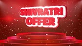 Шива : Shivratri Offer Text Animation on 3d Stage Podium Carpet. Reval Red Curtain With Abstract Foil Confetti Blast, Spotlight, Glitter Sparkles, Loop 4k Animation.