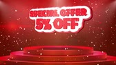 cena : 05 off Special Offer Text Animation on 3d Stage Podium Carpet. Reval Red Curtain With Abstract Foil Confetti Blast, Spotlight, Glitter Sparkles, 4k Animation.