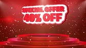 cena : 40 off Special Offer Text Animation on 3d Stage Podium Carpet. Reval Red Curtain With Abstract Foil Confetti Blast, Spotlight, Glitter Sparkles, 4k Animation.