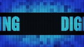 cárpatos : Digital Advertising Front Text Scrolling on Light Blue Digital LED Display Board Pixel Light Screen Looped Animation 4K Background. Sign Board, Blinking Light, Pixel Monitor, LED Wall Pannel Stock Footage