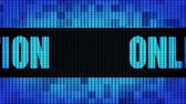 registrovat : Online Registration Front Text Scrolling on Light Blue Digital LED Display Board Pixel Light Screen Looped Animation 4K Background. Sign Board, Blinking Light, Pixel Monitor, LED Wall Pannel