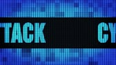 fraude : Cyber Attack Front Text scrolling on Light Blue Digital LED Display Board Pixel Light Screen Looped Animation 4K background. Sign Board , Blinking Light, Pixel Monitor, LED Wall Pannel