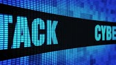 fraude : Cyber Attack Side Text scrolling on Light Blue Digital LED Display Board Pixel Light Screen Looped Animation 4K background. Sign Board , Blinking Light, Pixel Monitor, LED Wall Pannel