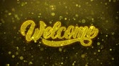 mensile : Welcome Greetings card Abstract Blinking Golden Sparkles Glitter Firework Particle Looped Background. Gift, card, Invitation, Celebration, Events, Message, Holiday, Festival Filmati Stock