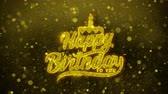 evenementen : Happy Birthday to you Greetings card Abstract Blinking Golden Sparkles Glitter Firework Particle Looped Background. Gift, card, Invitation, Celebration, Events, Message, Holiday, Festival