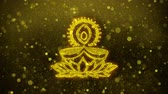 auspicioso : Deepak Diya Lamp Symbol Element Sign Greetings card Abstract Blinking Golden Sparkles Glitter Firework Particle Looped Background.
