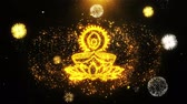auspicioso : Deepak Diya Lamp Text Sparks Particles Reveal from Golden Firework Display explosion 4K Background Symbol Element Sign Stock Footage