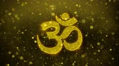 geloof : Om or Aum Shiva Symbol Element Sign Greetings card Abstract Blinking Golden Sparkles Glitter Firework Particle Looped Background. Stockvideo