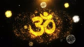 krishna : Om or Aum Shiva Text Sparks Particles Reveal from Golden Firework Display explosion 4K Background Symbol Element Sign