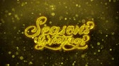 schrift : Seasons Greetings Greetings card Abstract Blinking Golden Sparkles Glitter Firework Particle Looped Background. Gift, card, Invitation, Celebration, Events, Message, Holiday, Festival Videos