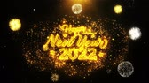 desejando : Happy New Year 2022 Text Sparks Particles Reveal from Golden Firework Display explosion 4K. Greeting card, Celebration, Party Invitation, calendar, Gift, Events, Message, Holiday, Wishes Festival Vídeos