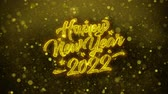 new years card : New Year 2022 Greetings card Abstract Blinking Golden Sparkles Glitter Firework Particle Looped Background. Gift, card, Invitation, Celebration, Events, Message, Holiday, Festival Stock Footage