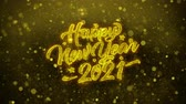 cartão : 2021 Happy New Year Greetings card Abstract Blinking Golden Sparkles Glitter Firework Particle Looped Background. Gift, card, Invitation, Celebration, Events, Message, Holiday, Festival