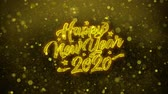 invito festa : 2020 Happy New Year Greetings card Abstract Blinking Golden Sparkles Glitter Firework Particle Looped Background. Gift, card, Invitation, Celebration, Events, Message, Holiday, Festival