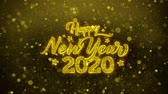 даты : Happy New Year 2020 Greetings card Abstract Blinking Golden Sparkles Glitter Firework Particle Looped Background. Gift, card, Invitation, Celebration, Events, Message, Holiday, Festival