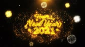 powitanie : 2021 Happy New Year Text Sparks Particles Reveal from Golden Firework Display explosion 4K. Greeting card, Celebration, Party Invitation, calendar, Gift, Events, Message, Holiday, Wishes Festival