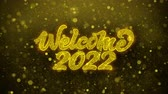 invitation card : Welcome 2022 Greetings card Abstract Blinking Golden Sparkles Glitter Firework Particle Looped Background. Gift, card, Invitation, Celebration, Events, Message, Holiday, Festival