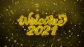 styczeń : Welcome 2021 Greetings card Abstract Blinking Golden Sparkles Glitter Firework Particle Looped Background. Gift, card, Invitation, Celebration, Events, Message, Holiday, Festival Wideo