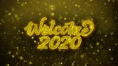 明けましておめでとうございます : Welcome 2020 Greetings card Abstract Blinking Golden Sparkles Glitter Firework Particle Looped Background. Gift, card, Invitation, Celebration, Events, Message, Holiday, Festival