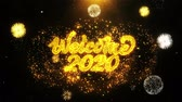 noel kartı : Welcome 2020 Text Sparks Particles Reveal from Golden Firework Display explosion 4K. Greeting card, Celebration, Party Invitation, calendar, Gift, Events, Message, Holiday, Wishes Festival Stok Video