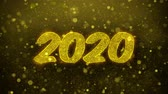 noel kartı : 2020 Happy New Year Greetings card Abstract Blinking Golden Sparkles Glitter Firework Particle Looped Background. Gift, card, Invitation, Celebration, Events, Message, Holiday, Festival