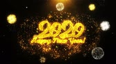 desejos : Happy New Year 2020 Text Sparks Particles Reveal from Golden Firework Display explosion 4K. Greeting card, Celebration, Party Invitation, calendar, Gift, Events, Message, Holiday, Wishes Festival Stock Footage