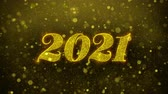gratulation : Happy New Year 2021 Greetings card Abstract Blinking Golden Sparkles Glitter Firework Particle Looped Background. Gift, card, Invitation, Celebration, Events, Message, Holiday, Festival