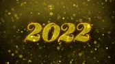 the end of the year : Happy New Year 2022 Greetings card Abstract Blinking Golden Sparkles Glitter Firework Particle Looped Background. Gift, card, Invitation, Celebration, Events, Message, Holiday, Festival