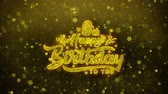 confete : 6th Happy Birthday Greetings card Abstract Blinking Golden Sparkles Glitter Firework Particle Looped Background. Gift, card, Invitation, Celebration, Events, Message, Holiday, Festival
