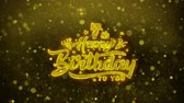 birth : 7th Happy Birthday Greetings card Abstract Blinking Golden Sparkles Glitter Firework Particle Looped Background. Gift, card, Invitation, Celebration, Events, Message, Holiday, Festival