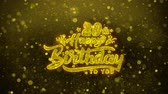 u : 20th Happy Birthday Greetings card Abstract Blinking Golden Sparkles Glitter Firework Particle Looped Background. Gift, card, Invitation, Celebration, Events, Message, Holiday, Festival