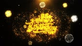 narodziny : 65th Happy Birthday Text Sparks Particles Reveal from Golden Firework Display explosion 4K. Greeting card, Celebration, Party Invitation, calendar, Gift, Events, Message, Holiday, Wishes Festival