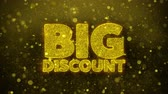 total : Big Discount Greetings card Abstract Blinking Golden Sparkles Glitter Firework Particle Looped Background. Gift, card, Invitation, Celebration, Events, Message, Holiday, Festival