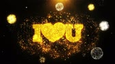 toujours : I Heart Love You Text Sparks Particles Reveal from Golden Firework Display explosion 4K. Greeting card, Celebration, Party Invitation, calendar, Gift, Events, Message, Holiday, Wishes Festival .