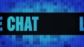 kontakt : Live Chat Front Text Scrolling on Light Blue Digital LED Display Board Pixel Light Screen Looped Animation 4K Background. Sign Board , Blinking Light, Pixel Monitor, LED Wall Pannel Wideo