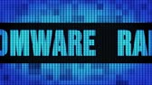 ransom : RANSOMWARE Front Text Scrolling on Light Blue Digital LED Display Board Pixel Light Screen Looped Animation 4K Background. Sign Board , Blinking Light, Pixel Monitor, LED Wall Pannel Stock Footage