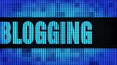 artikel : Blogging Front Text Scrolling on Light Blue Digital LED Display Board Pixel Light Screen Looped Animation 4K Background. Sign Board , Blinking Light, Pixel Monitor, LED Wall Pannel
