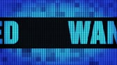 assassinato : Wanted Front Text Scrolling on Light Blue Digital LED Display Board Pixel Light Screen Looped Animation 4K Background. Sign Board , Blinking Light, Pixel Monitor . LED Wall Pannel Stock Footage