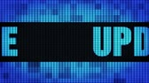 instalovat : Update Front Text Scrolling on Light Blue Digital LED Display Board Pixel Light Screen Looped Animation 4K Background. Sign Board , Blinking Light, Pixel Monitor . LED Wall Pannel