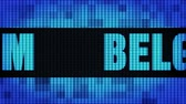 belga : Belgium Front Text Scrolling on Light Blue Digital LED Display Board Pixel Light Screen Looped Animation 4K Background. Sign Board , Blinking Light, Pixel Monitor . LED Wall Pannel
