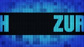 zurichsee : ZURICH Front Text Scrolling on Light Blue Digital LED Display Board Pixel Light Screen Looped Animation 4K Background. Sign Board , Blinking Light, Pixel Monitor . LED Wall Pannel