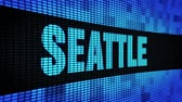 northwest : SEATTLE Side Text Scrolling on Light Blue Digital LED Display Board Pixel Light Screen Looped Animation 4K Background. Sign Board , Blinking Light, Pixel Monitor . LED Wall Pannel Stock Footage