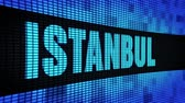 turečtina : ISTANBUL side Text Scrolling on Light Blue Digital LED Display Board Pixel Light Screen Looped Animation 4K Background. Sign Board , Blinking Light, Pixel Monitor . LED Wall Pannel