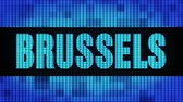 bruxelas : BRUSSELS Front Text Scrolling on Light Blue Digital LED Display Board Pixel Light Screen Looped Animation 4K Background. Sign Board , Blinking Light, Pixel Monitor . LED Wall Pannel