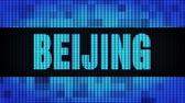 династия : BEIJING Front Text Scrolling on Light Blue Digital LED Display Board Pixel Light Screen Looped Animation 4K Background. Sign Board , Blinking Light, Pixel Monitor . LED Wall Pannel