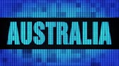 new south wales : AUSTRALIA Front Text Scrolling on Light Blue Digital LED Display Board Pixel Light Screen Looped Animation 4K Background. Sign Board , Blinking Light, Pixel Monitor . LED Wall Pannel Stock Footage